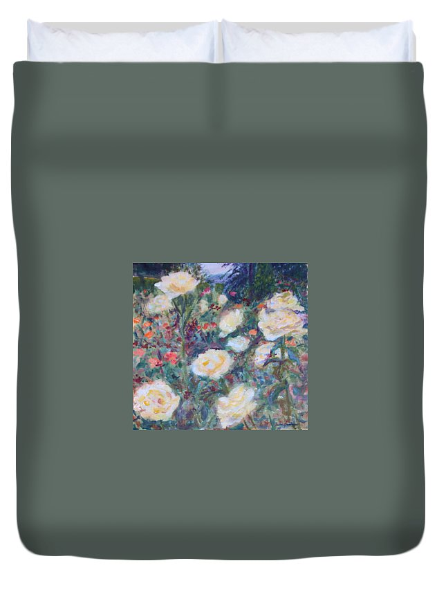 Quin Sweetman Duvet Cover featuring the painting Sunny Day At The Rose Garden by Quin Sweetman