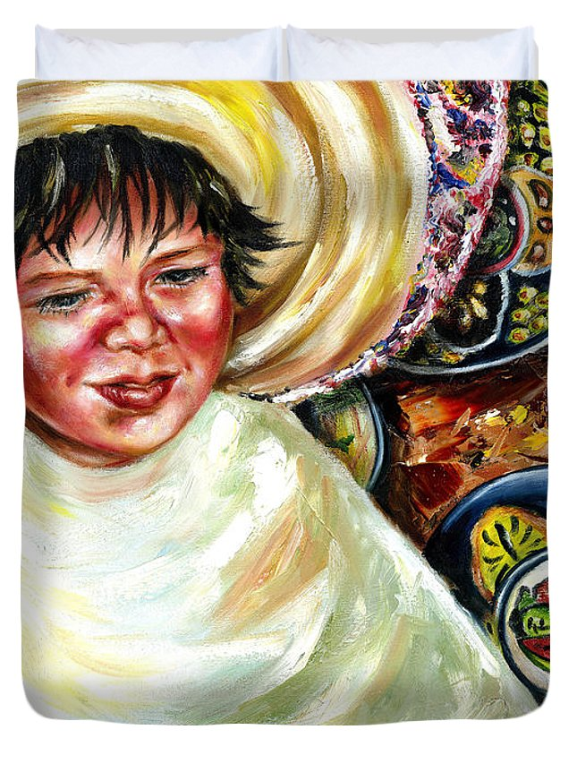 Child Duvet Cover featuring the painting Sunny Day by Hiroko Sakai