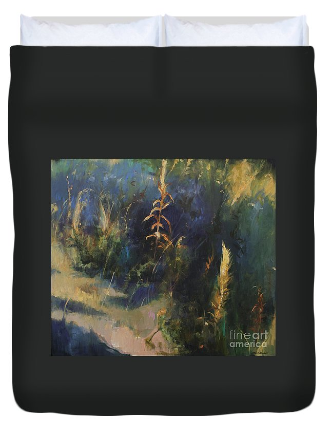 Lin Petershagen Duvet Cover featuring the painting Sunny Day by Lin Petershagen