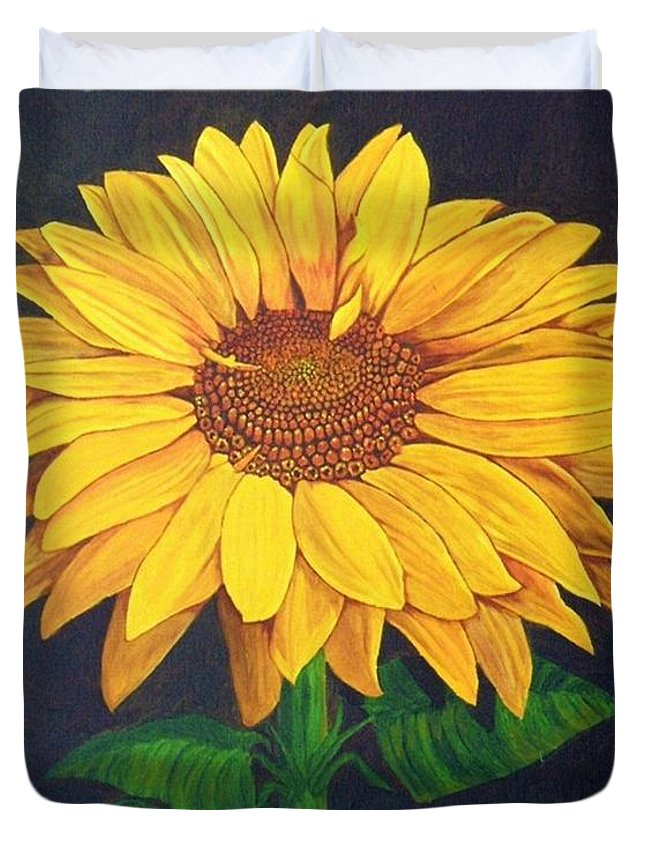 Sunflower Duvet Cover featuring the painting Sunny Flower by Brandy House