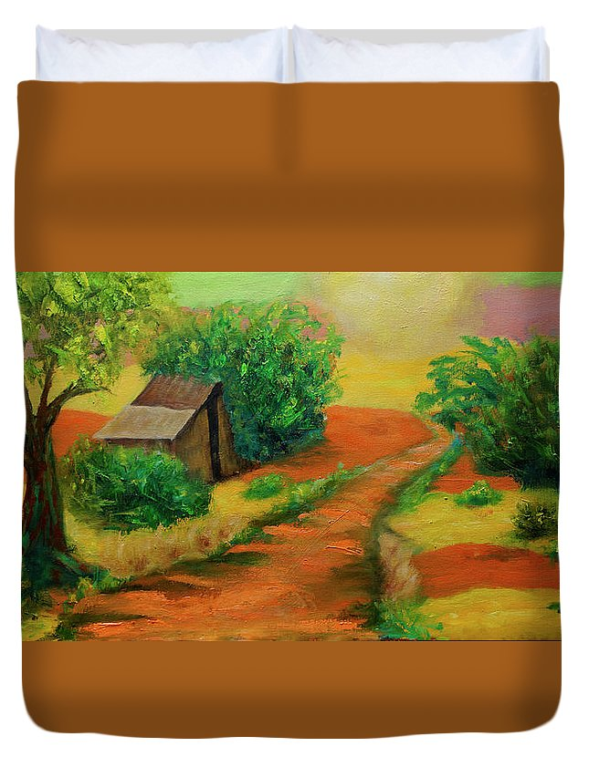Landscape Duvet Cover featuring the painting Sunny Horizons by Florine Duffield