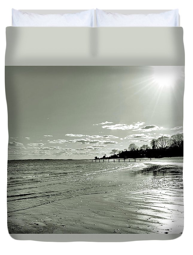 Seascape Duvet Cover featuring the photograph Sunny March Day On The West Beach by Alex Galkin