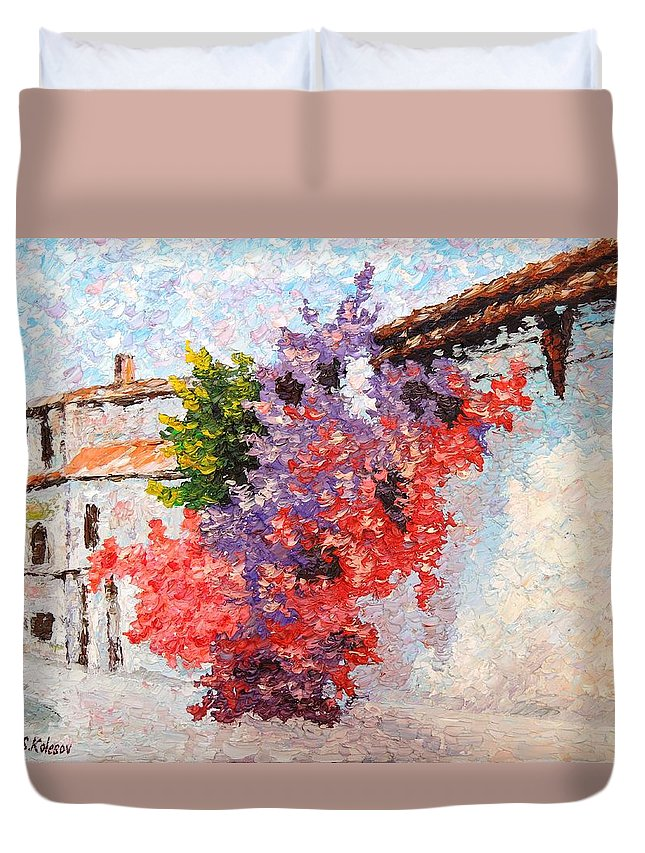 Cityscape Duvet Cover featuring the painting Sunny Morning In Greece by Sergei Kolesov