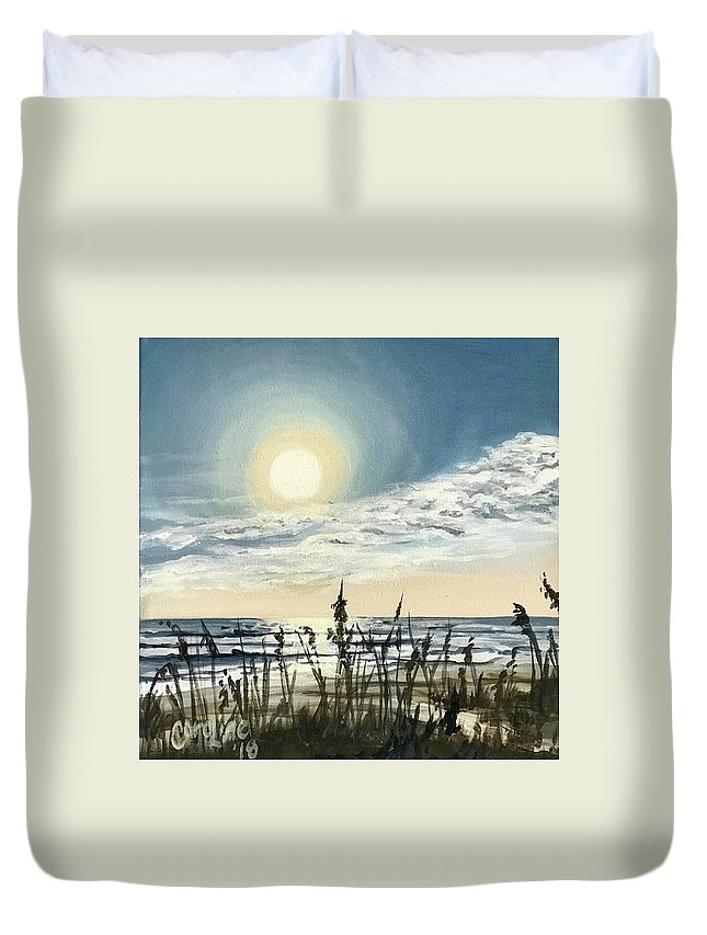 Ocean Duvet Cover featuring the painting Sunny Morning On Crescent Beach by Caroline Conkin