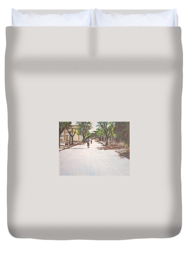Sun Duvet Cover featuring the painting Sunny Road by Usha Shantharam