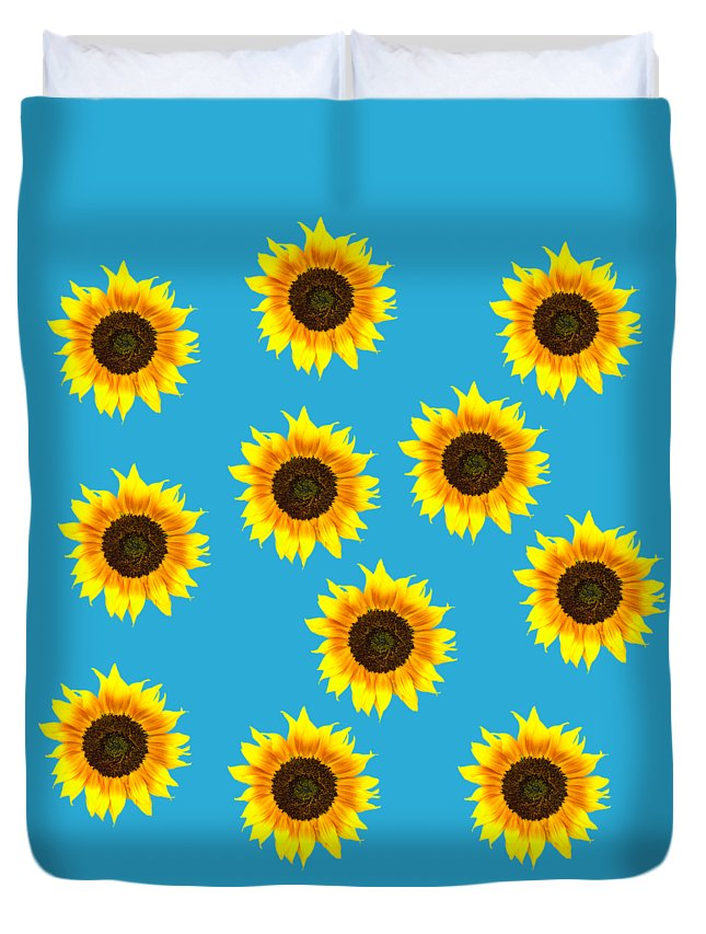Sunflowers Duvet Cover featuring the photograph Sunny Sunflowers by Judith Flacke