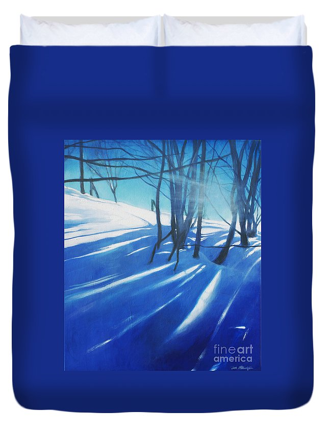 Lin Petershagen Duvet Cover featuring the painting Sunny Traintrip To Hamar by Lin Petershagen