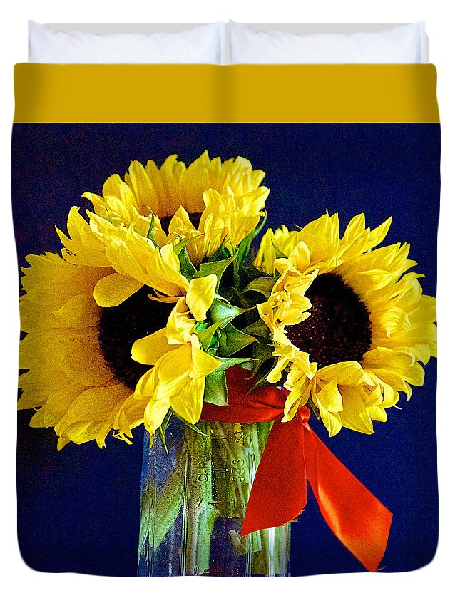 Sunflowers Duvet Cover featuring the photograph Sunny Trio by Barbara Zahno