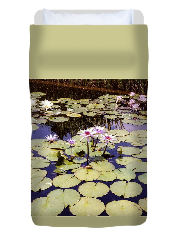 Floral Duvet Cover featuring the photograph Sunny Waterlilies by Jan Amiss Photography