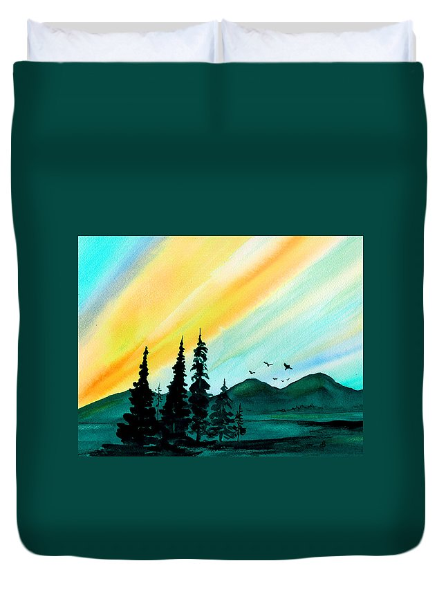 Landscape Duvet Cover featuring the painting Sunrays by Brenda Owen