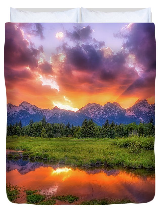 Sunset Duvet Cover featuring the photograph Sunrays Over The Tetons by Darren White