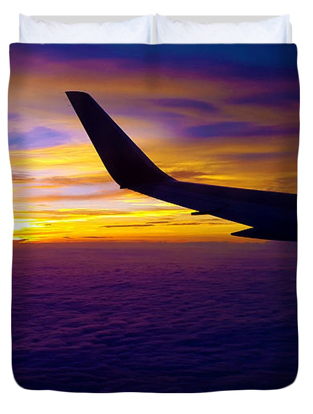 Sunrise Duvet Cover featuring the photograph Sunrise Above The Clouds by Judi Saunders