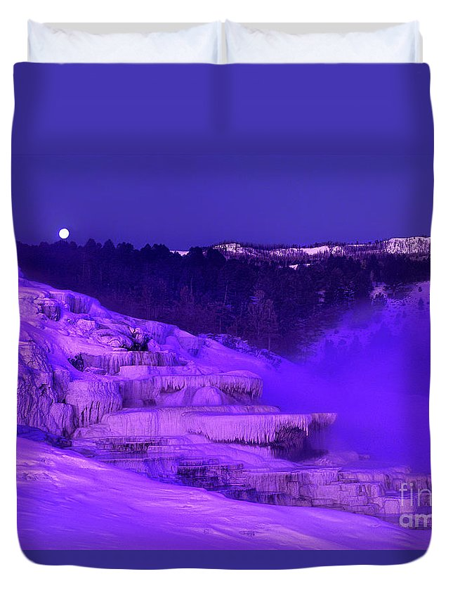 North America Duvet Cover featuring the photograph Sunrise And Moonset Over Minerva Springs Yellowstone National Park by Dave Welling