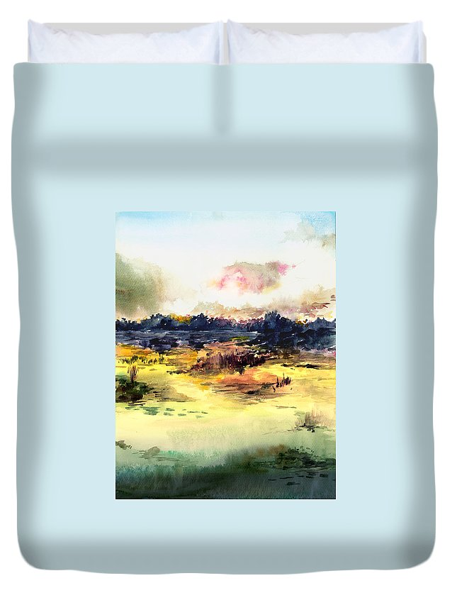Landscape Water Color Sky Sunrise Water Watercolor Digital Mixed Media Duvet Cover featuring the painting Sunrise by Anil Nene