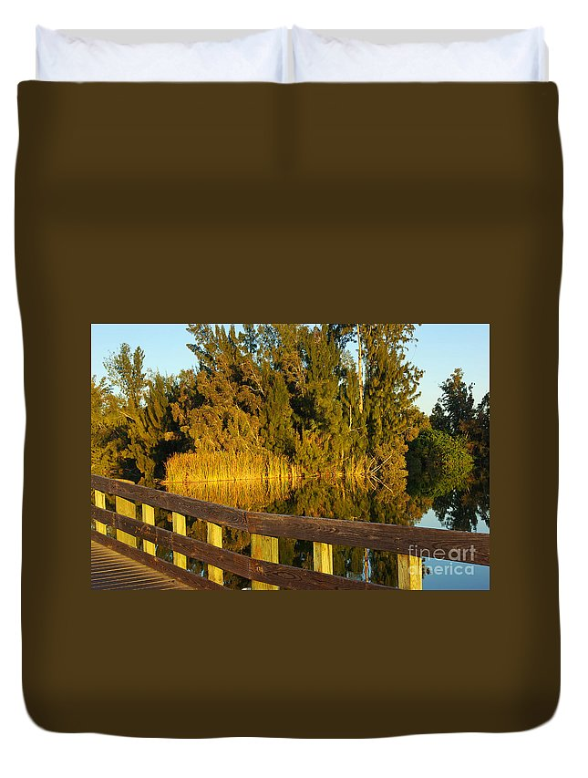 Lake Duvet Cover featuring the photograph Sunrise At A Lake by Zal Latzkovich