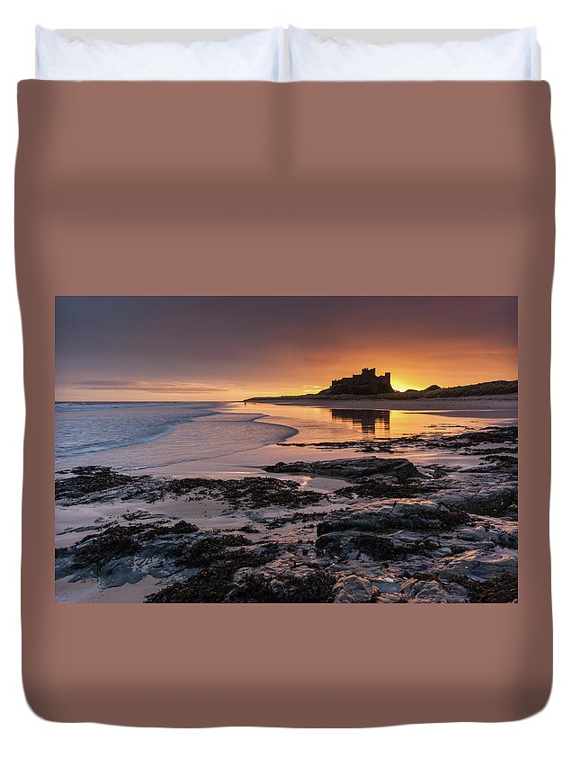 Sunrise Duvet Cover featuring the photograph Sunrise at Bamburgh Castle #4, Northumberland, North East England by Anthony Lawlor