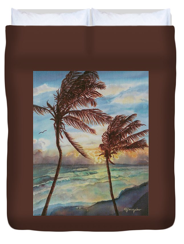 Coconut Tree Duvet Cover featuring the painting Sunrise At Cattlewash 4 by Deborah Younglao