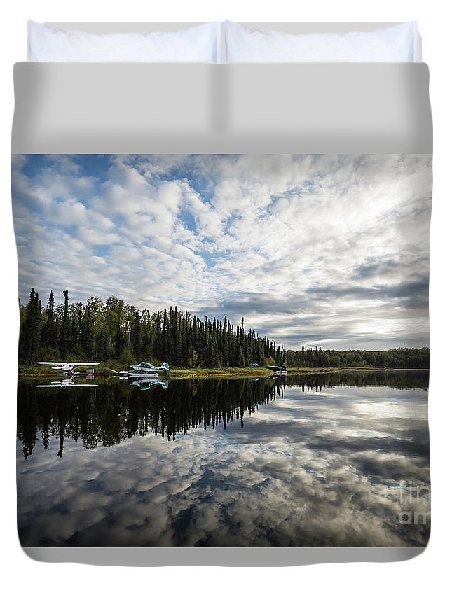 Fish Lake Duvet Cover featuring the photograph Sunrise At Fish Lake by Eva Lechner