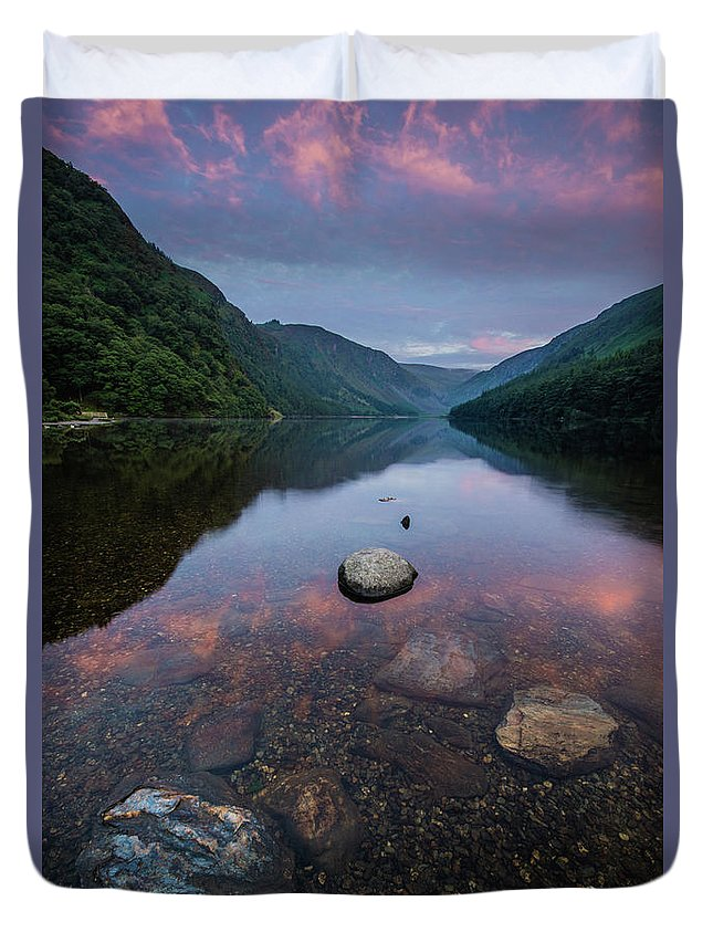 Sunrise Duvet Cover featuring the photograph Sunrise at Glendalough Upper Lake #2, County Wicklow, Ireland by Anthony Lawlor