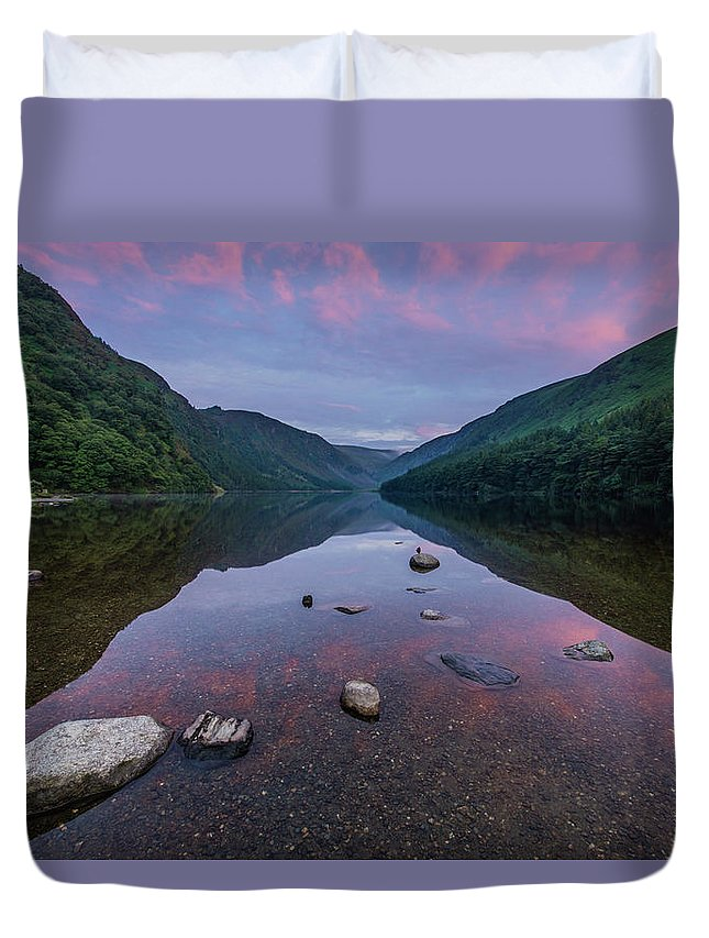 Sunrise Duvet Cover featuring the photograph Sunrise at Glendalough Upper Lake #3, County Wicklow, Ireland. by Anthony Lawlor