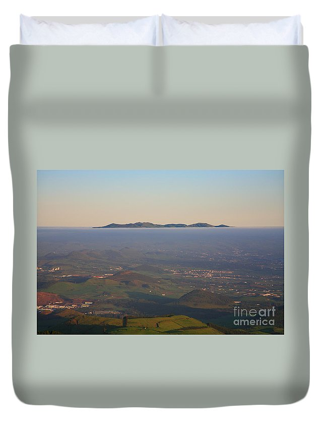 Fog Duvet Cover featuring the photograph Sunrise At Sao Miguel Island by Gaspar Avila
