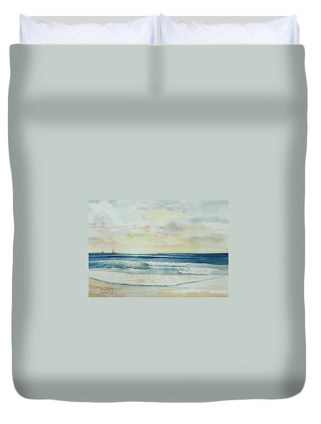 Seascape Duvet Cover featuring the painting Sunrise At The Beach IIi by Tom Harris