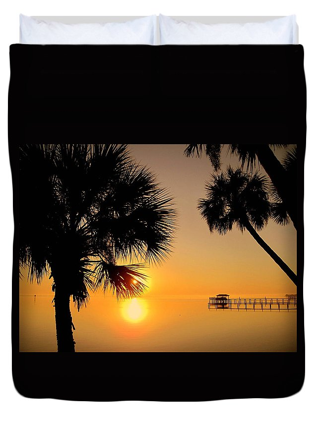 Sunrise Duvet Cover featuring the photograph Sunrise At The Space Coast Fl by Susanne Van Hulst
