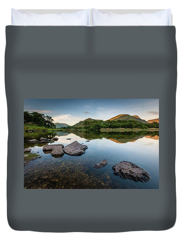 Lake District Duvet Cover featuring the photograph Sunrise at Ullswater, Lake District, North West England by Anthony Lawlor