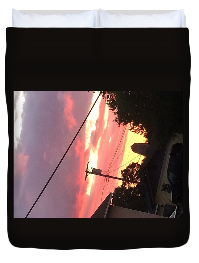 Sunrise Duvet Cover featuring the photograph Sunrise Behind Cliffs Shaft by Thomas Pascoe