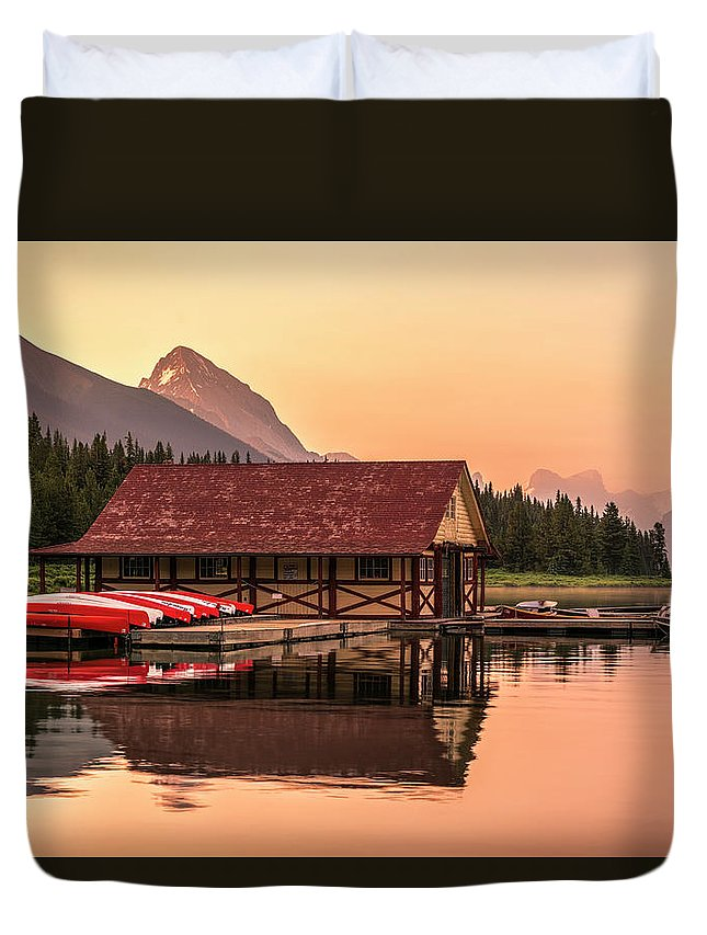 Boat House Duvet Cover featuring the photograph Sunrise Boat House by Yves Gagnon
