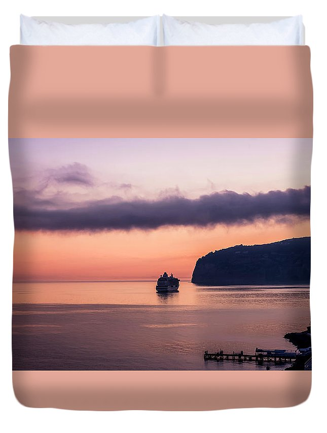 Italy Duvet Cover featuring the photograph Sunrise Departure by Bob McCormac