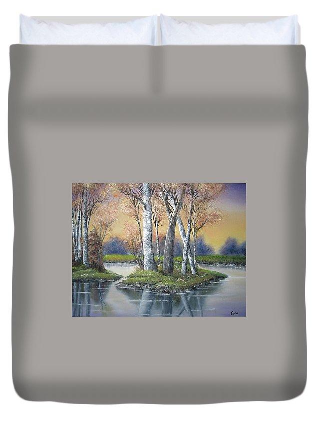 Season Duvet Cover featuring the painting Sunrise Dream by Lisa Cini