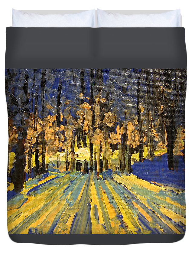 Landscape Duvet Cover featuring the painting Sunrise Forest Modern Impressionist Landscape Painting by Patricia Awapara