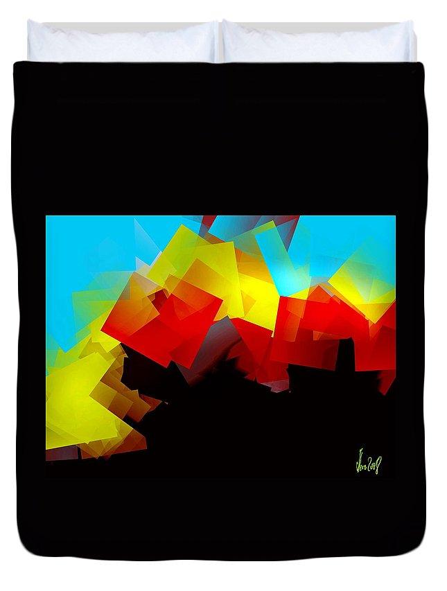 Sunrise Duvet Cover featuring the digital art Sunrise by Helmut Rottler