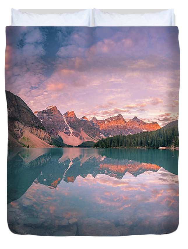 Alberta Duvet Cover featuring the photograph Sunrise Hour At Banff by William Freebilly photography