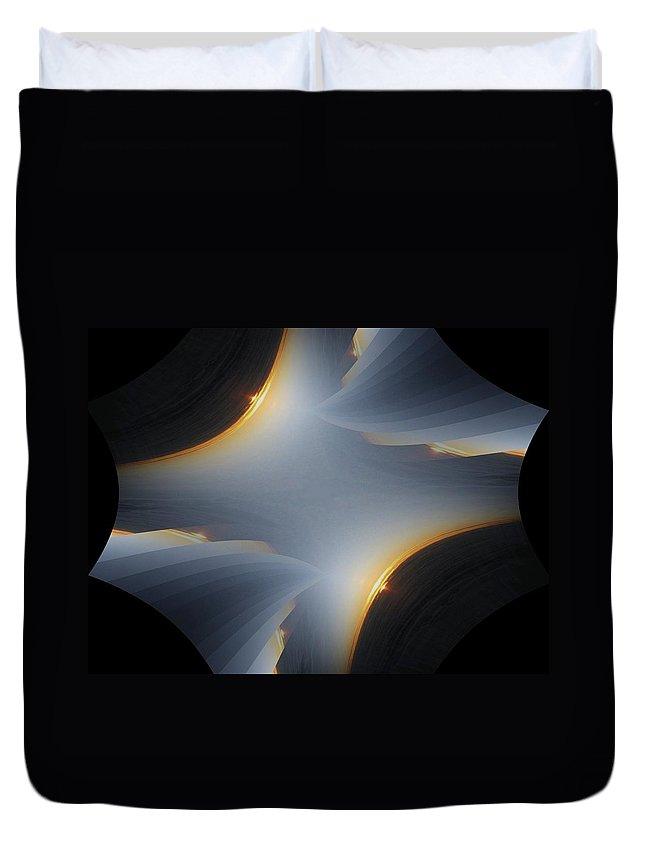 Sunrise Duvet Cover featuring the digital art Sunrise In Fractal by Tim Allen
