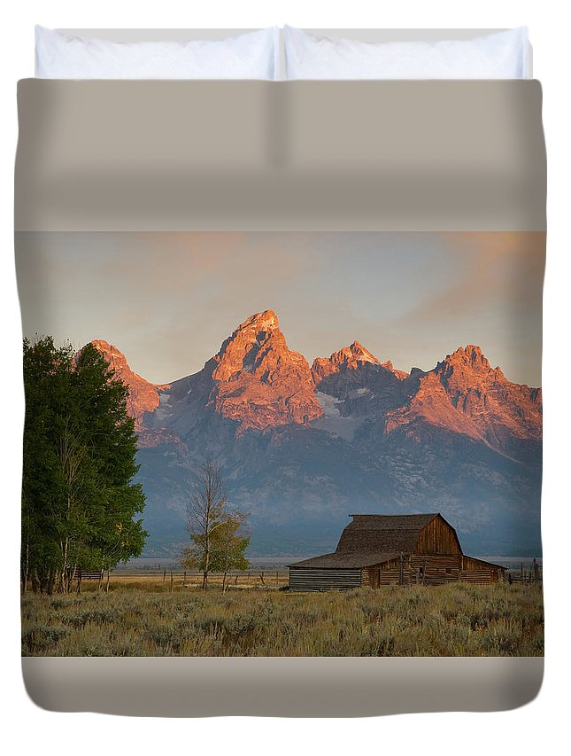 Grand Teton Duvet Cover featuring the photograph Sunrise In Jackson Hole by Steve Stuller