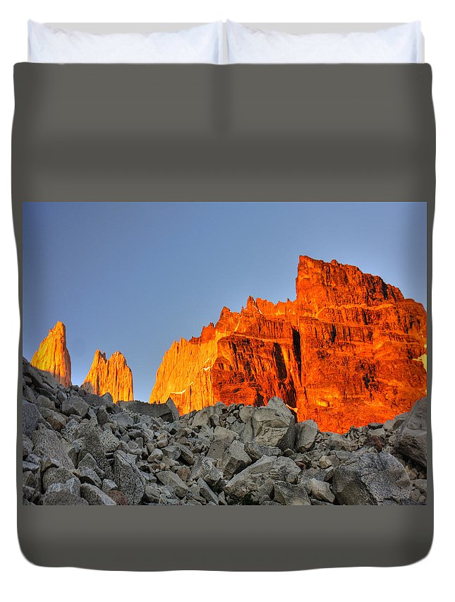 Torres Del Paine Duvet Cover featuring the photograph Sunrise In Torres Del Paine by Julian Regan