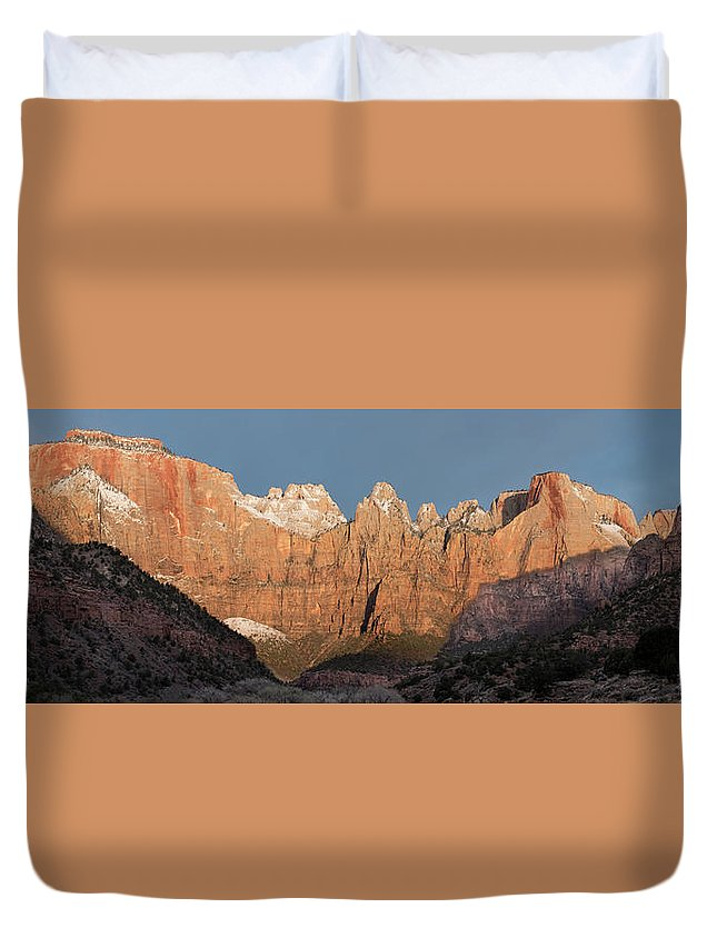 Zion Duvet Cover featuring the photograph Sunrise In Zion National Park by Eli Melet