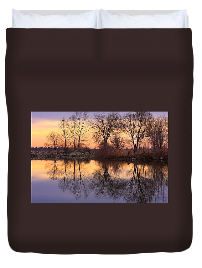 Sunrise Duvet Cover featuring the photograph Sunrise Lake Reflections by James BO Insogna