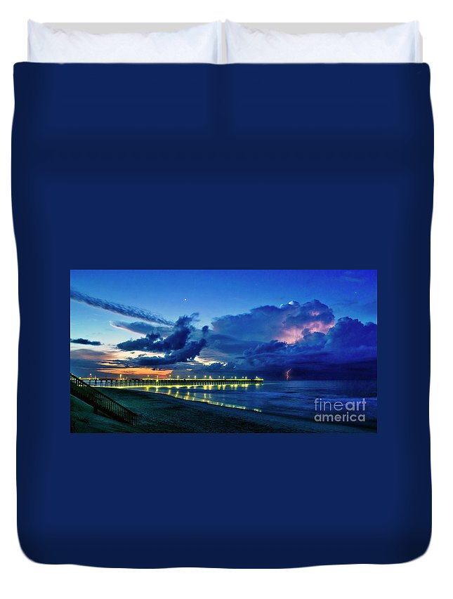 Surf City Duvet Cover featuring the photograph Sunrise Lightning by DJA Images