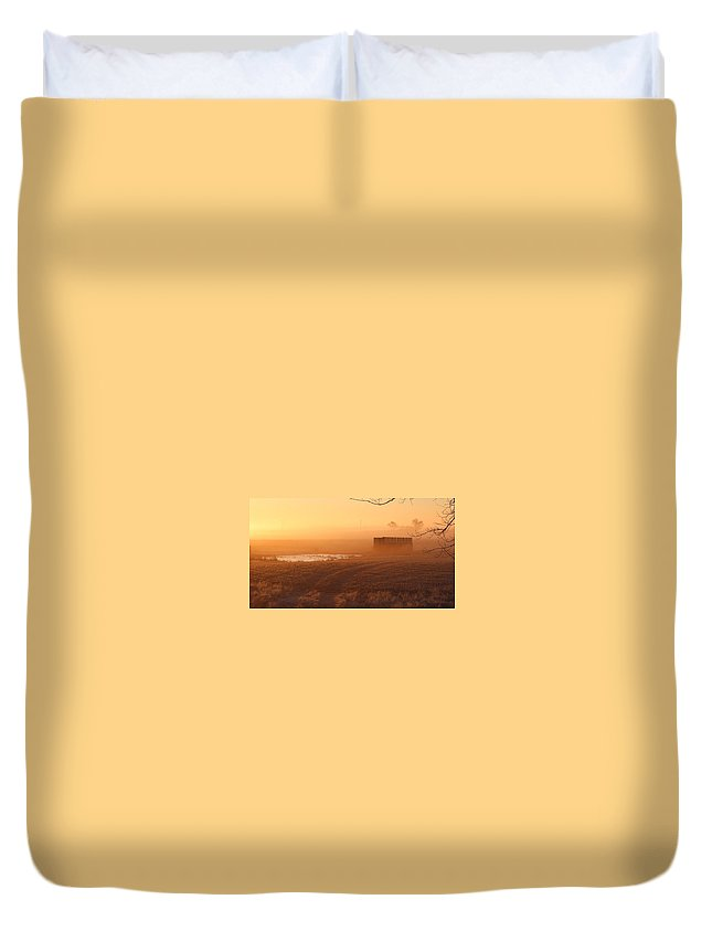 Misty Duvet Cover featuring the photograph Sunrise Mist by Vice Photo
