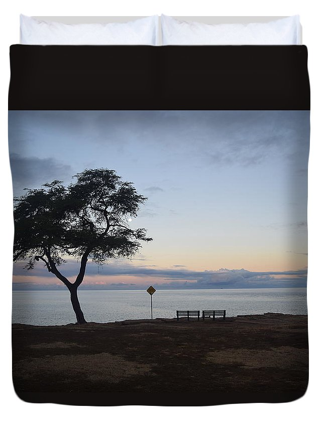Sunrise Duvet Cover featuring the photograph Sunrise, Moonfall by Samantha Peel