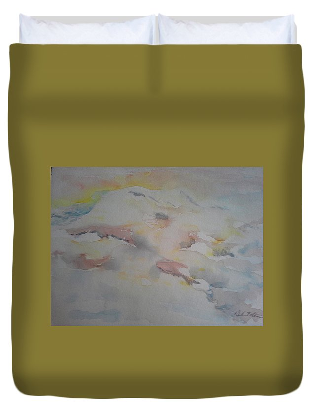 Landscape Duvet Cover featuring the painting Sunrise by Nadine Cotton