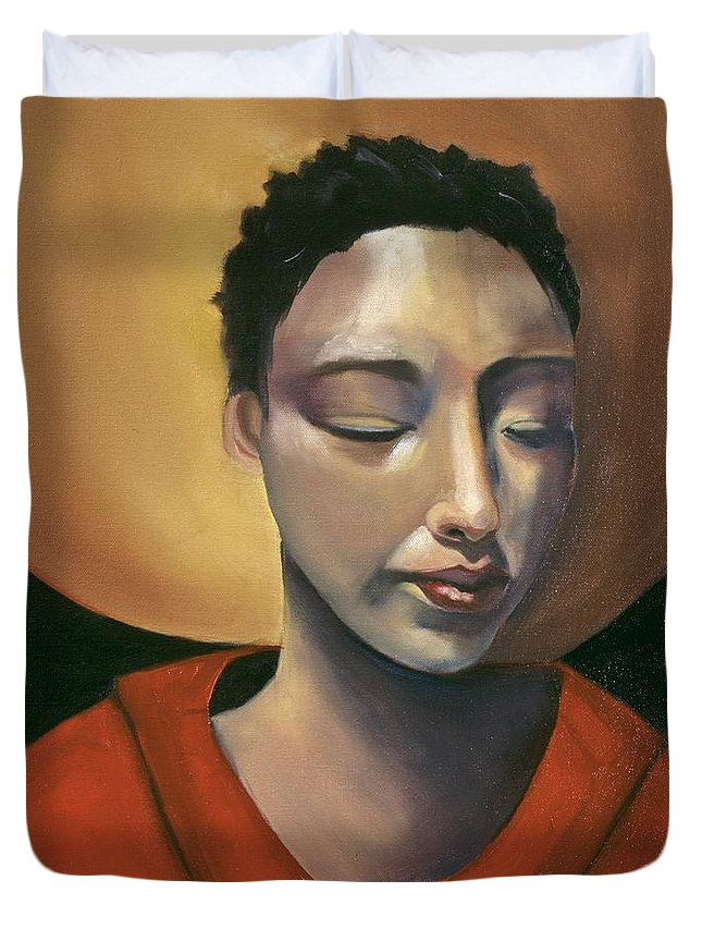 Asian Girl Woman Sun Red Ethnic Black Figurative Portrait Duvet Cover featuring the painting Sunrise by Niki Sands