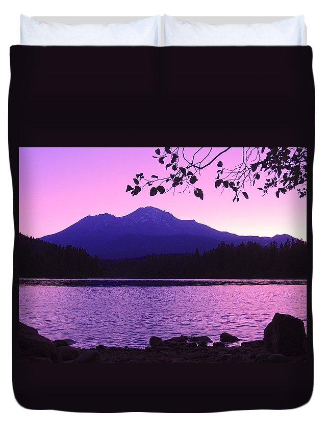 Sunrise Duvet Cover featuring the photograph Sunrise On Lake Shasta by Sarah Avignone