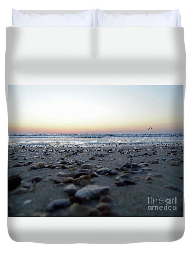 Sunrise Duvet Cover featuring the photograph Sunrise On The Beach by D Hackett