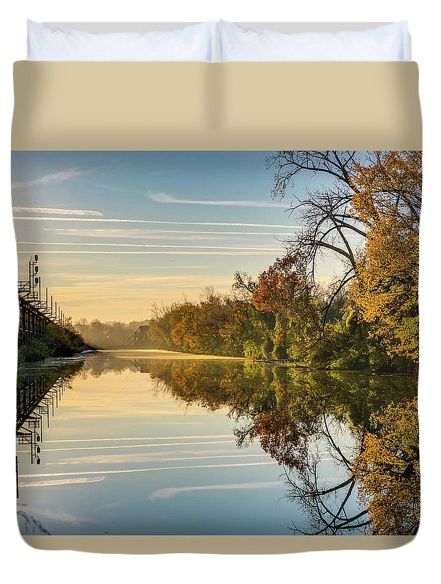 Sunrise Duvet Cover featuring the photograph Sunrise On The Canal by Tim Wilson