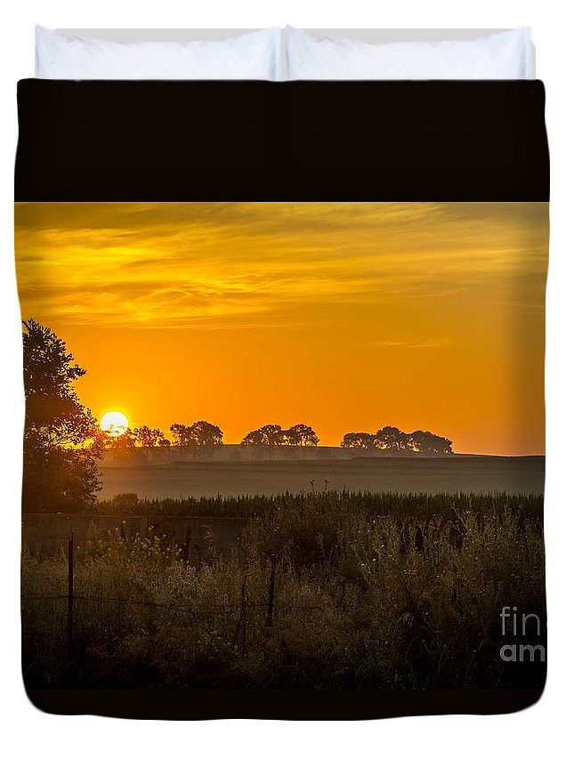 Sunrise Duvet Cover featuring the photograph Sunrise On The Farm by Lisa Phillips