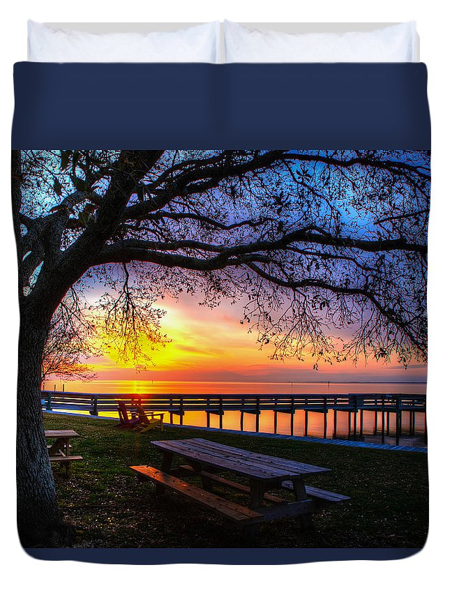 Sunrise Duvet Cover featuring the photograph Sunrise On The Neuse by Jay Whipple